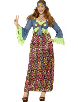 Disfraz de Hippie Azul en Talla Grande para Mujer