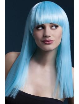 Peluca Azul Celeste con Flequillo Premium