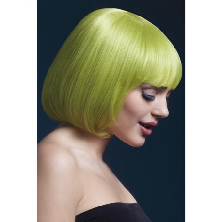 Peluca Verde Corta con Flequillo Premium