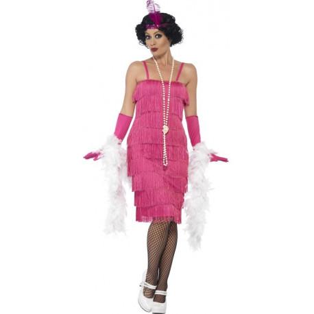 Disfraz de Charlestón Rosa Largo para Mujer