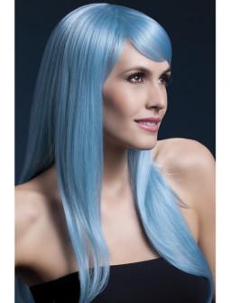 Peluca Azul Pastel Larga con Flequillo Premium