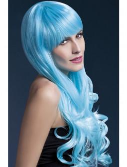 Peluca Azul Ondulada con Flequillo Premium
