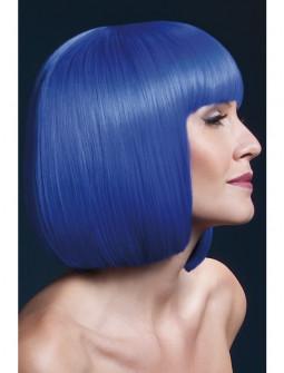 Peluca Azul Neón Lisa con Flequillo Premium