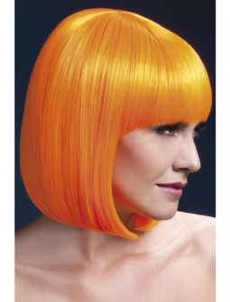 Peluca Naranja Neón Lisa con Flequillo Premium