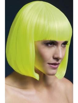 Peluca Amarilla Neón Lisa con Flequillo Premium