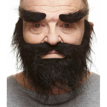 Barba negra poblada con cejas