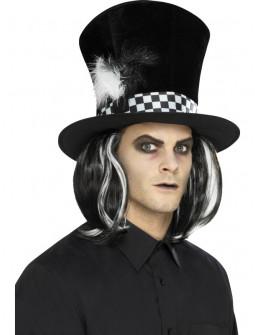 Sombrero de Sombrerero Oscuro con Peluca