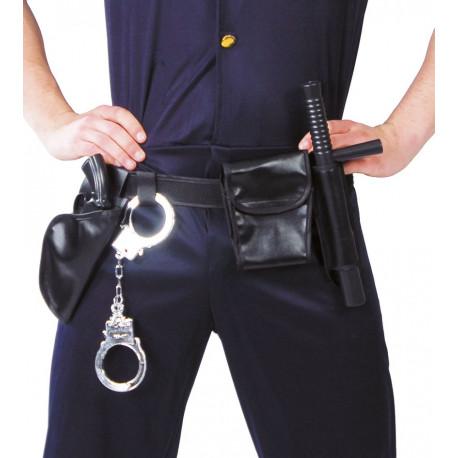 Cinturón de Policía con Pistola, Porra y Esposas