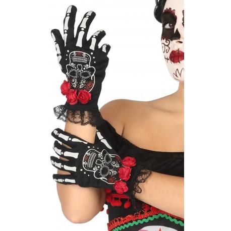 Guantes de Catrina Esqueleto con Rosas