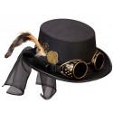 Chistera Steampunk con Gafas y Plumas