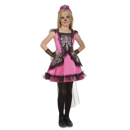 Disfraz de Catrina Rosa para Niña