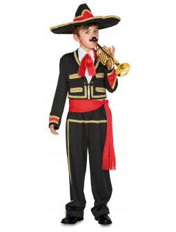 Disfraz de Mariachi Mejicano Rojo y Negro para Niño