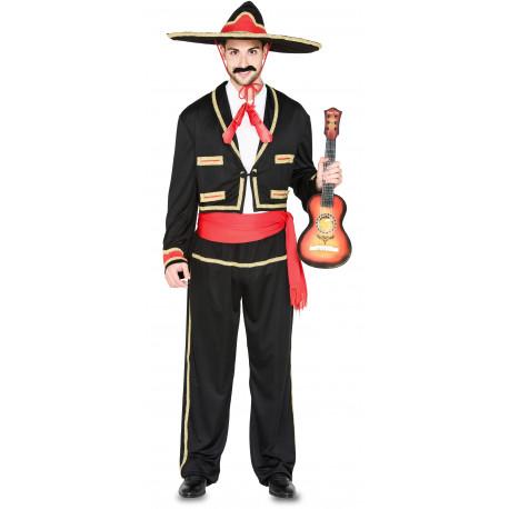 Disfraz de Mariachi Mejicano Rojo y Negro para Adulto