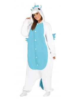 Disfraz de Unicornio Azul Pijama para Adulto