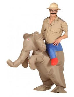 Disfraz de Hombre en Elefante Hinchable