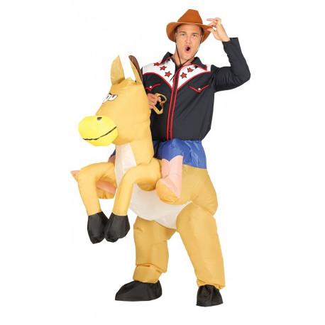 Disfraz de Vaquero en Caballo Hinchable