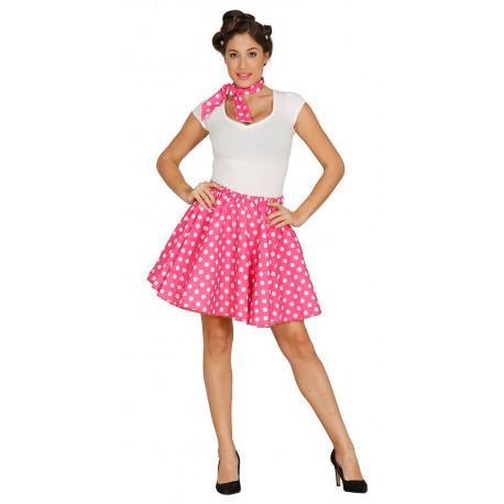 Falda Rosa con Lunares y Pañuelo Pin-up