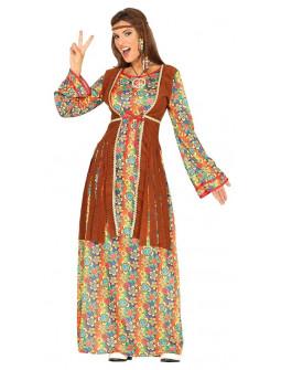 Disfraz de Hippie Largo con Chaleco para Mujer