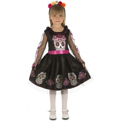 Disfraz de Catrina Negro y Rosa para Niña