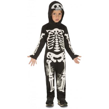 Disfraz de Esqueleto con Telarañas para Niño