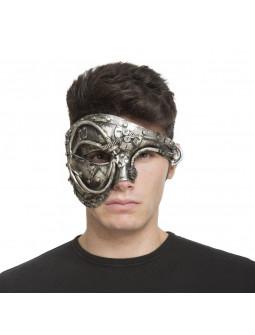 Máscara de Cyborg Steampunk Plateada
