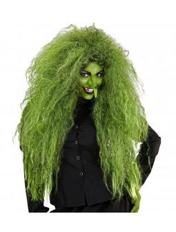 Peluca de Bruja Verde Afro Larga