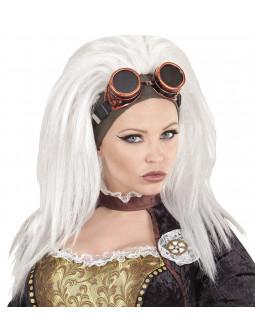 Peluca Steampunk Blanca con Gafas