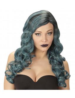 Peluca Azul y Negra Larga Ondulada