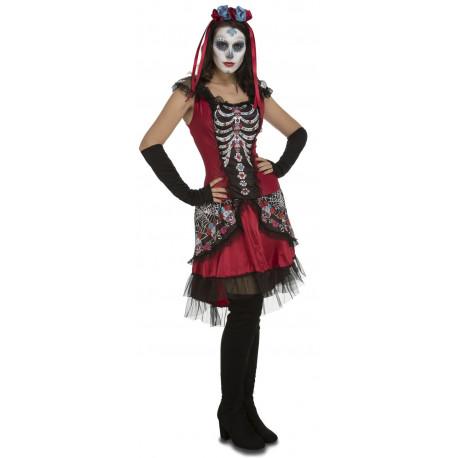 Disfraz de Día de los Muertos Rojo para Mujer