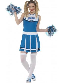 Disfraz de Animadora Azul con Pompones para Mujer