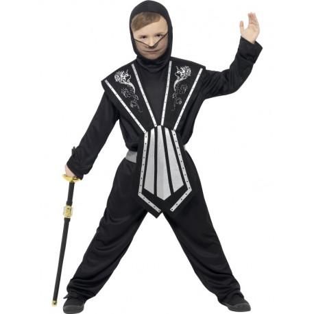 Disfraz de Ninja Negro y Plata para Niño