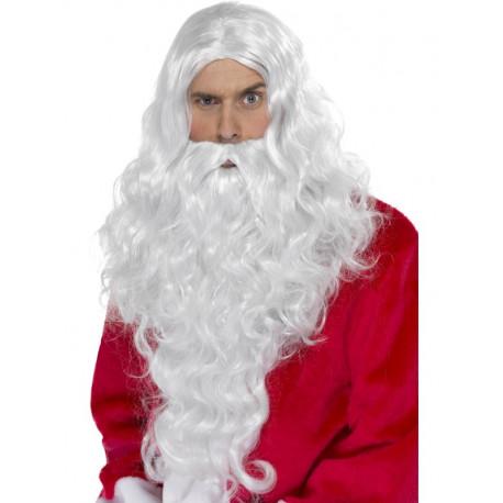Barba con Peluca Larga de Papá Noel