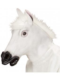 Máscara de Caballo Blanco de Látex con Pelo