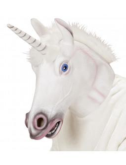 Máscara de Unicornio Blanco de Látex con Pelo