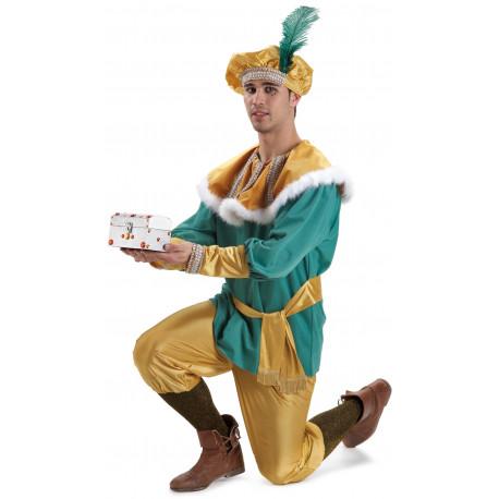Disfraz de Paje Amarillo y Verde para Hombre