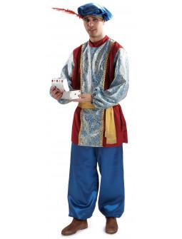 Disfraz de Paje Azul y Granate para Hombre