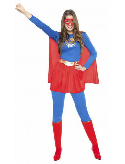 Disfraz de Superheroína Azul y Rojo para Mujer
