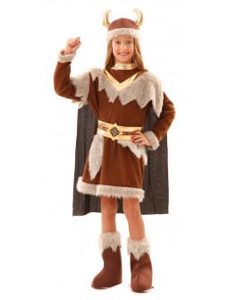 Disfraz de Vikinga Marrón para Niña