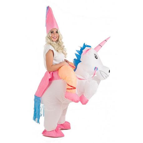 Disfraz de Unicornio Hinchable con Princesa a Hombros