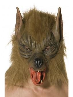 Máscara de Hombre Lobo Marrón con Pelo