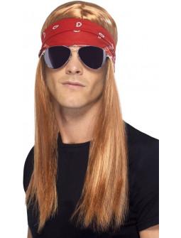 Peluca Castaña de Axel Rose con Bandana y Gafas