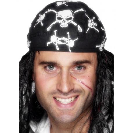 Bandana Pirata Negra con Calaveras