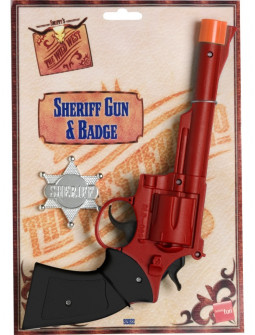 Pistola Roja de Vaquero con Placa