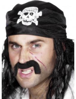 Bandana Negra de Pirata con Calavera