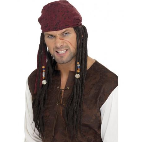 Pañuelo Pirata Granate con Rastas