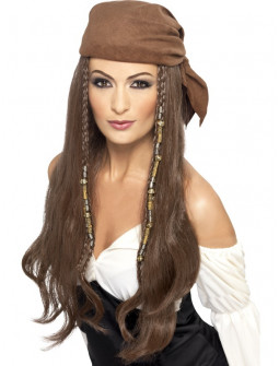 Peluca Pirata Castaña con Pañuelo Marrón