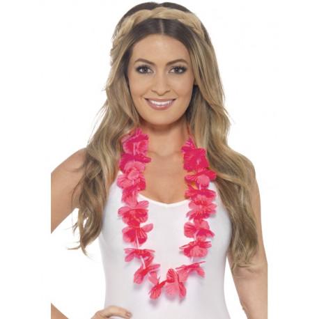 Collar Hawaiano de Flores Rosa Fucsia