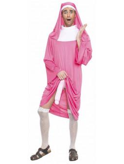 Disfraz de Monja Rosa Cachonda para Adulto