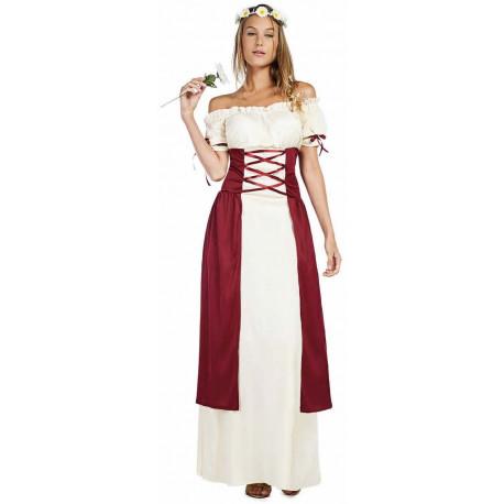 Disfraz Medieval Beige y Granate para Mujer