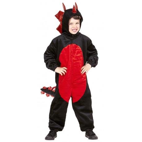 Disfraz de Dinosaurio Negro y Rojo para Niño